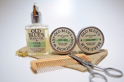 Old Blue's Beard Grooming Kit, Cool Mint,  Moustache Wax, Beard Oil & Balm  • 14.99£