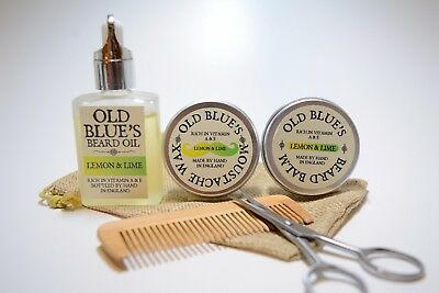 Old Blue's Beard Grooming Kit, Lemon & Lime,  Moustache Wax, Beard Oil & Balm  • 14.99£