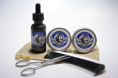 Beard Grooming Kit, Beard Oil, Moustache Wax, Beard Balm, Comb Scissors Gift Bag • 9.49£