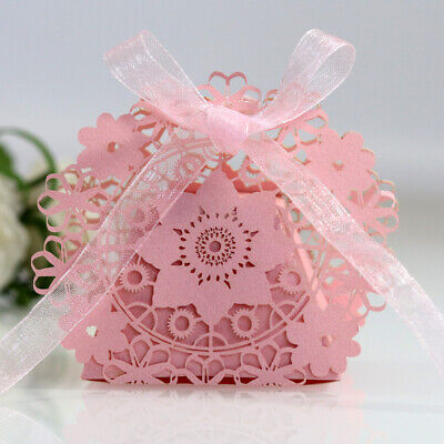 Light Pink Lace Laser Cut Wedding Favour Sweet Gift Boxes Bags Table Decoration • 3.79£
