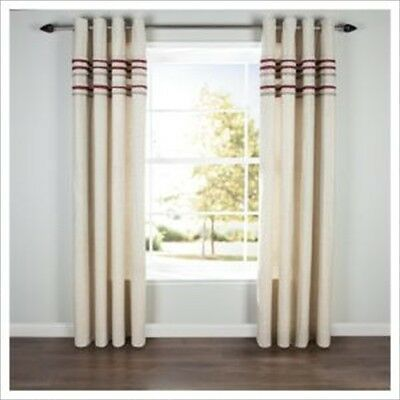 £19.99 • Buy Pair Linen Pleat Lined Eyelet Curtains Red 64  X 72  Lounge Bedroom Dining Room