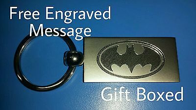 Personalised BATMAN Keyring In Gift Box With Your Message ANY TEXT • 5.94£