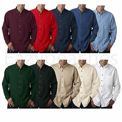 $23.95 • Buy UltraClub Long-Sleeve Cypress Denim With Pocket Solid Button Up Shirt Men's 8960
