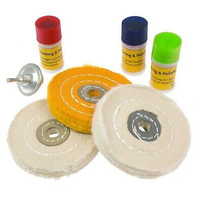 £11.99 • Buy 7pc Metal Cleaning & Polishing Buffing Wheel Kit With Compound Blocks Fits Drill