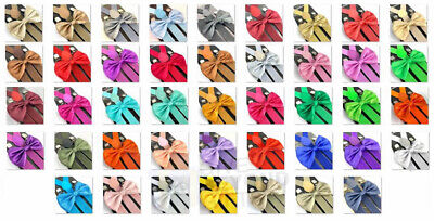$7.99 • Buy Suspender And Bow Tie Adults 42 Colors Combo Wedding Formal Wear Accessories