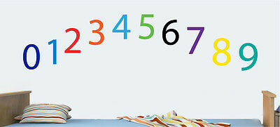 Childrens Colourful Numbers - Pack Of 10 Wall Art Stickers Learning Decal Mural • 8.99£