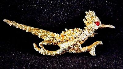 Vintage Roadrunner Bird Brooch Coat Sweater Pin Rhinestone Costume Jewelry • 5.73£