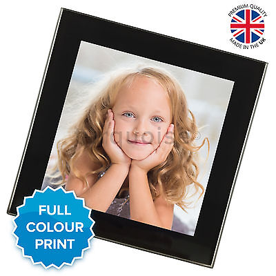Personalised Custom Photo Glass Coasters Drink Mats Gift Set | Black Silver • 4.49£
