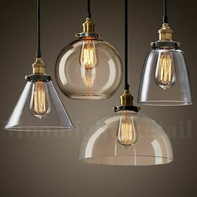 New Modern Vintage Industrial Retro Loft Glass Ceiling Lamp Shade Pendant Light • 30.99£