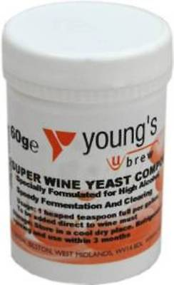Youngs Brew Home Brewing Super Wine Yeast Compound For High Alcohol 60g • 6.99£