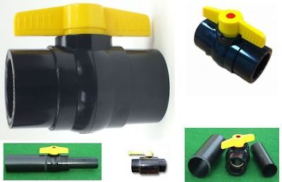 "Yamitsu Solvent Weld Ball Valve Control Fish Pond Filter Flow Plumbing 1.5"" 2 3"" • 11.95£"