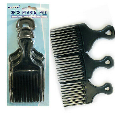 £3.98 • Buy 3 Afro Comb Hair Pick Black Pik Wide Teeth Pick Lift Styling Comb Curly Salon