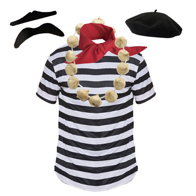 £4.98 • Buy MENS FRENCH MAN Fancy Dress Costume French 5 PC SET Waiter Stag Party Outfit