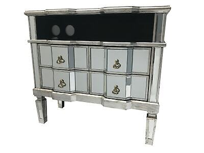 Large Widescreen Mirrored TV Media Unit 4 Drawer Cabinet Vintage Venetian Glass • 369.50£