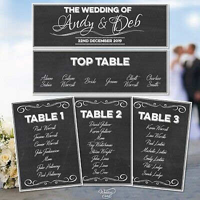 £0.99 • Buy Personalised Wedding Party Table Plan Name Chalkboard Place Seating Order Cards
