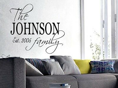 £12.36 • Buy FAMILY NAME EST. PERSONALIZED Wall Art Decal Quote Words Lettering 30  X 24