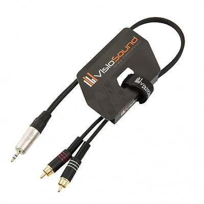 3.5mm Stereo TRS Mini Jack To Twin 2 X RCA Gold Phono Lead / Aux MP3 Cable • 8.99£