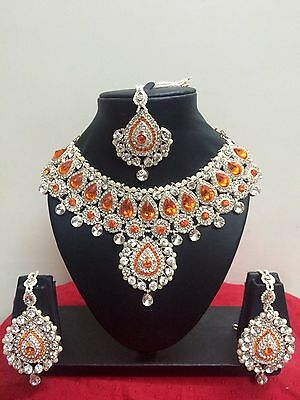 $24 • Buy Indian Bollywood Style Rose Gold Plated Bridal Fashion Jewelry Necklace Set