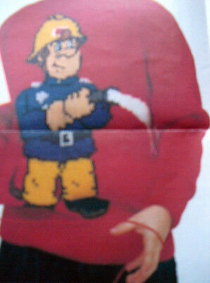 CHARTED KNITTING PATTERN CHILD'S INTARSIA FIREMAN SAM SWEATER 24-32  (61-81cm)  • 2.49£
