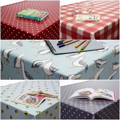 Clarke & Clarke PVC Oilcloth WIPE CLEAN Fabric Tablecloth Vinyl Round Rectangle • 13.99£