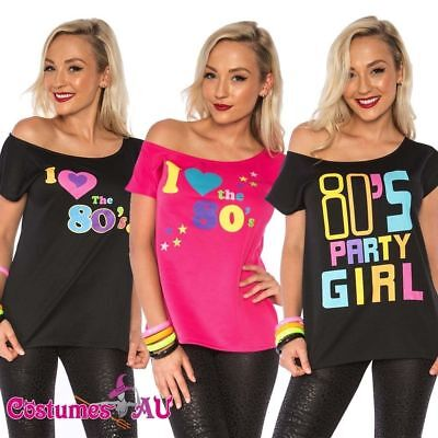 AU22.50 • Buy I Love The 80's 80s T-shirt Costume Ladies 1980s Fancy Dress Girls Top TShirt