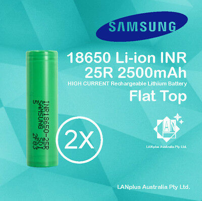 AU14.99 • Buy 2x Samsung 18650 2500mAh 25R Lithium Rechargeable Battery INR18650-25R Flat Top