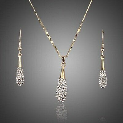 Gold Bridal Jewellery Set Pendant Necklace Earrings Made With Swarovski Crystals • 35£