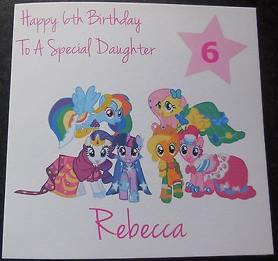 Personalised MY LITTLE PONY BIRTHDAY CARD-2nd 3rd 4th 5th 6th 7th 8th {G60} Girl • 3.75£