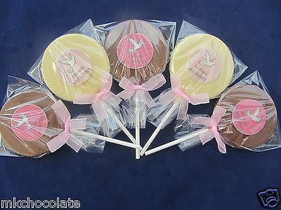 Personalised Girls Christening/holy Communion Chocolate Lollipop/sweets/favours • 1.20£