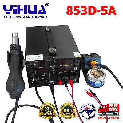 AU259.69 • Buy 3IN1  853D 5A DC POWER SUPPLY HOT AIR GUN REWORK SOLDERING Iron STATION