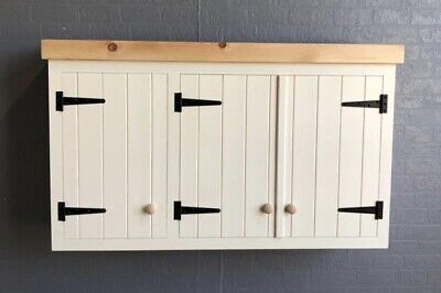 Triple Solid Pine Rusic Kitchen Wall Unit Cupboard Cabinet With Pine Pelmet • 495£
