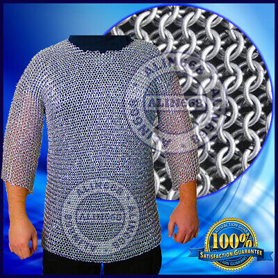 £15 • Buy Aluminium Chainmail Shirt Butted Aluminum Chain Mail Haubergeon Medieval Armor,
