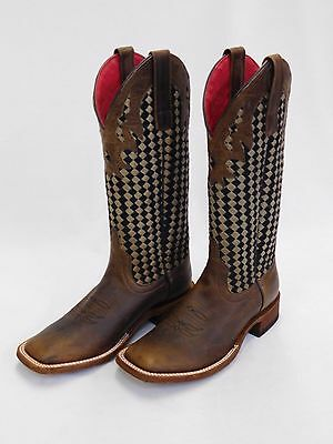 $259.99 • Buy Women's Macie Bean Brown Square Toe Boots W/Black And Brown Woven Tops M9075