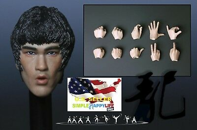 $50.39 • Buy 1/6 Bruce Lee Head Sculpt 6.0 Open Mouth W/ Hands For Hot Toys Phicen M32 ❶USA❶