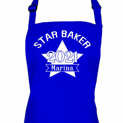Personalised Blue Ladies Kitchen Cooking Star Baker Quality Apron • 13.99£