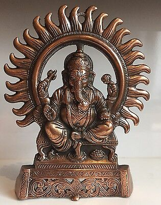Ganesha Large 8.6 X 7'' Ganesh Elephant Face God Hinduism Bronze Antique Statues • 18£