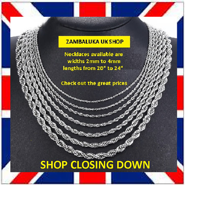 STAINLESS STEEL 316L ROPE TWIST MENS CHAIN NECKLACE 2-5MM, 18 -25  No 4      • 7£