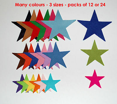 Die Cut Felt Stars Mixed Size Pack Embellishment Toppers Xmas Christmas  • 2.50£