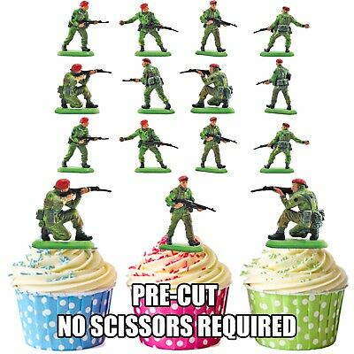 £5.25 • Buy PRECUT Army Toy Soldiers 36 Edible Cupcake Toppers Party Decorations Boys Mens