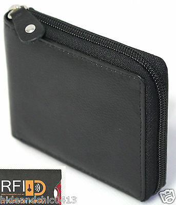 AU24.99 • Buy RFID Security Lined Zip-Around Leather Wallet Full Grain Cow Hide Leather. 11011