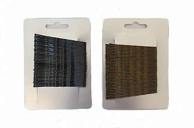 X36 KIRBY HAIR GRIPS 6.5cm - BOBBY PINS - BLACK BROWN HAIR CLIPS SLIDES WAVED • 1.99£