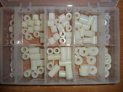 NYLON SPACER & WASHER, ASSORTMENT, OVER 200 Pcs, 7 SIZES OF SPACERS & 3 WASHERS. • 24.99£