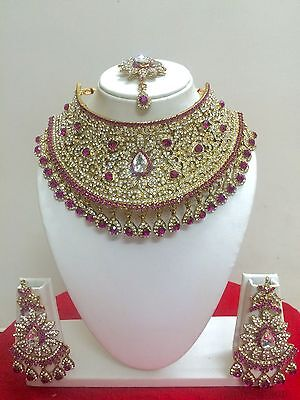 $27.29 • Buy Indian Bollywood Fashion Gold Plated Bridal Jewelry Necklace Set