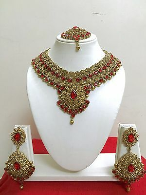 $27.99 • Buy Indian Bollywood Style Designer Gold Plated Bridal Fashion Jewelry Necklace Set