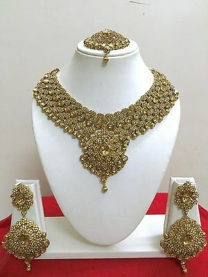$27.99 • Buy Indian Bollywood Style Designer Gold Plated Fashion Bridal Jewelry Necklace Set