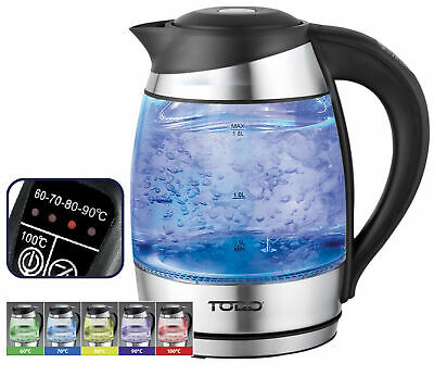 AU49 • Buy TODO 1.8L Glass Cordless Kettle Electric Blue Led Light Keep Warm 360 Jug Black