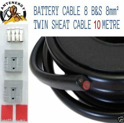 AU69.90 • Buy 10 METRE BATTERY CABLE 8 B&S 8mm² TWIN SHEATH CABLE 2X ANDERSON PLUG CONNECTORS