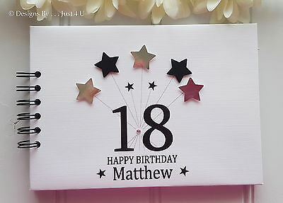 Personalised Any Age  3d Star  Birthday Guest Book  Photo Scrapbook Album  • 13.99£