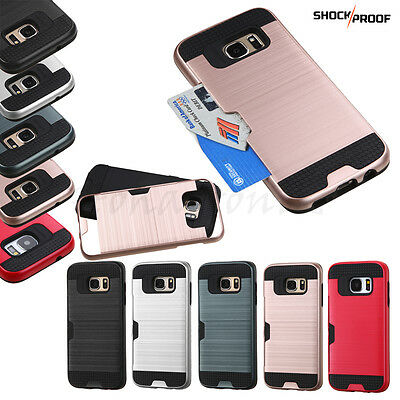 $ CDN10.02 • Buy For Samsung GALAXY S7 /Edge Hybrid Shockproof Rugged Card Holder Case Cover Hard