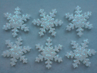 £3.95 • Buy 24 Glittery White Frozen Snowflakes - Edible Sugar Cake Decorations / Toppers